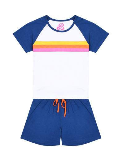 Women's Rainbow Stripe PJs - Optic White/Twilight Blue