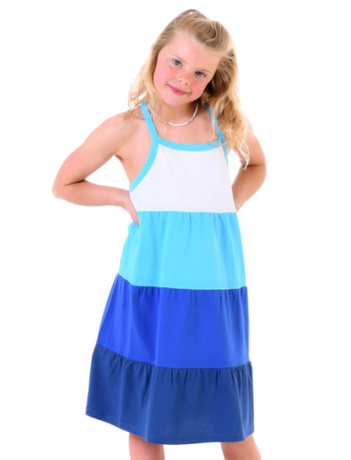 Girl's Tiered Dress - Rainbow Blue