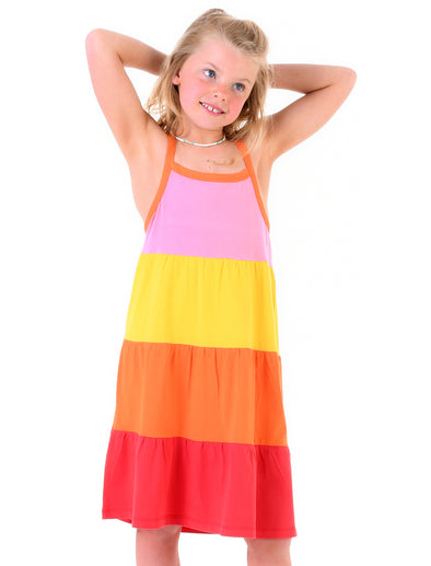 Girl's Tiered Dress - Rainbow Pink