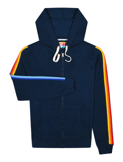 Men's Zip Up Rainbow Hoodie - Dress Blue