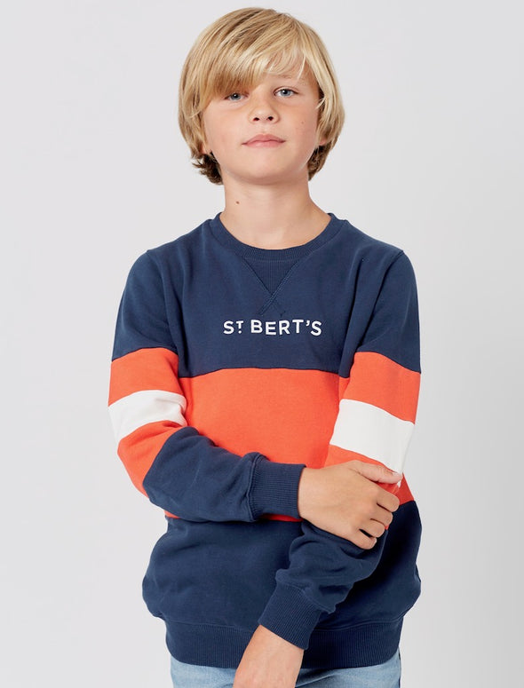 Kids Arm Stripe Sweatshirt - Dress Blue/Poppy Red