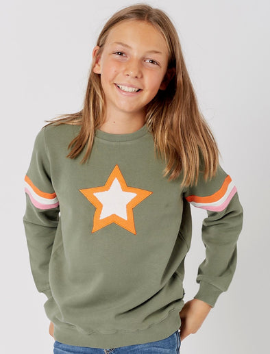 Kids Double Star Sweatshirt - Khaki Green