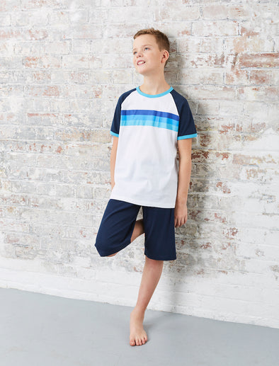 Boys Rainbow PJs - Dress Blue/Cloud Dancer