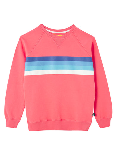Chest Stripe Sweatshirt - Coral Pink