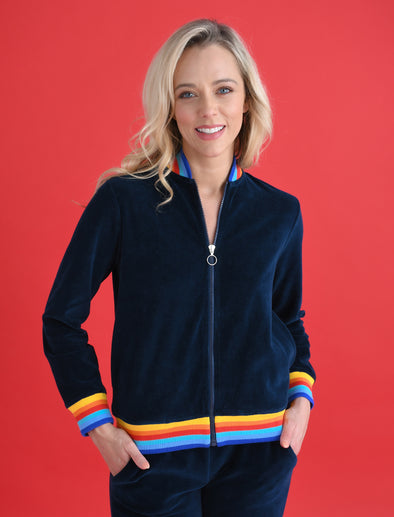 Women's Zip-Up Velour Bomber - Dress Blue