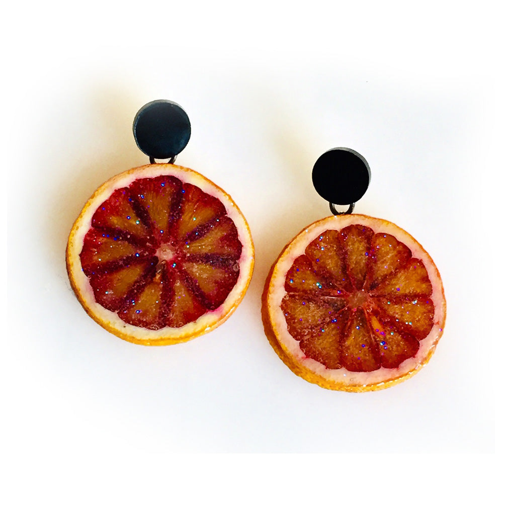 Blood Orange Dot Earrings