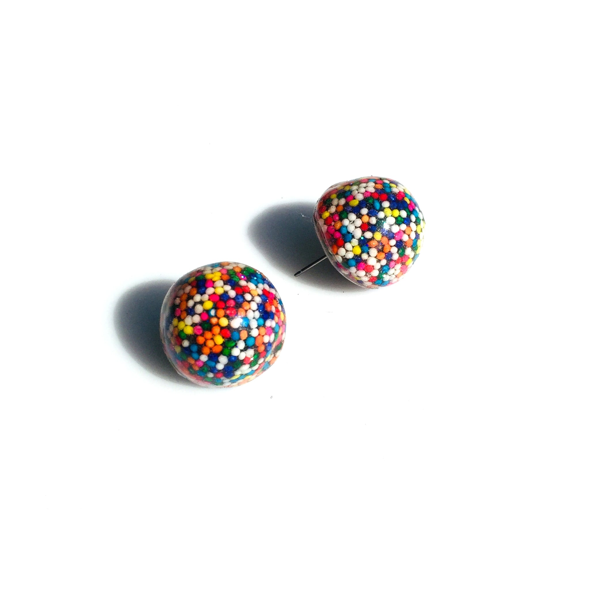 Sprinkle Licorice Candy Earrings - studs