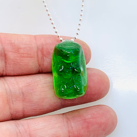 Green Gummy Bear Necklace -pick your own