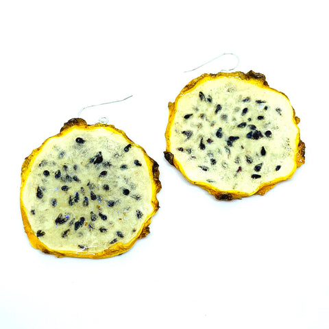 Yellow Dragonfruit Earrings