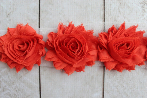 Dark Orange Shabby Chiffon Flower