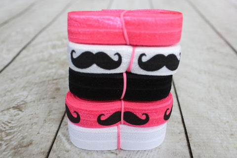 "5/8"" Neon Pink, White, and Black Mustache Fold Over Elastic Bundle"