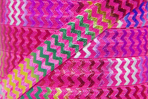 "Hot Pink/Rainbow Metallic Chevron 5/8"" Fold Over Elastic"