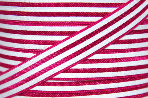 "Hot Pink/White Stripe 5/8"" Fold Over Elastic"