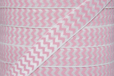 "Light Pink Chevron 5/8"" Fold Over Elastic"