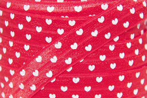 "Red Heart Print 5/8"" Fold Over Elastic"