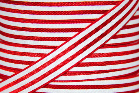 "Red/White Stripe 5/8"" Fold Over Elastic"