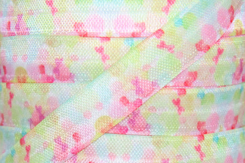 "Watercolor Print 5/8"" Fold Over Elastic"
