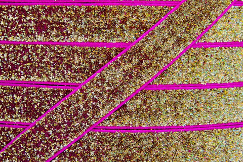 "Gold & Hot Pink 5/8"" Glitter Elastic"