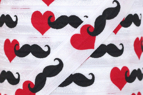 "Mustache and Heart Print 5/8"" Fold Over Elastic"