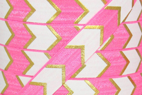 "Neon Pink, White and Gold Metallic Aztec Chevron Print 5/8"" Fold Over Elastic"