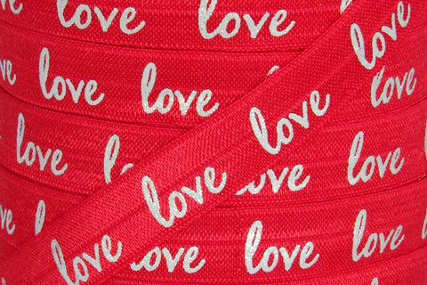 "Red/Silver Metallic ""love"" Print 5/8"" Fold Over Elastic"