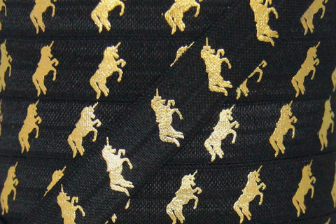 "Black/Gold Metallic Unicorn Print 5/8"" Fold Over Elastic"