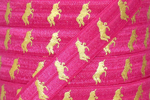 "Hot Pink/Gold Metallic Unicorn Print 5/8"" Fold Over Elastic"