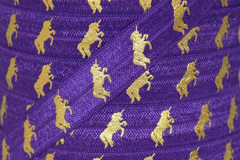 "Grape Purple/Gold Metallic Unicorn Print 5/8"" Fold Over Elastic"