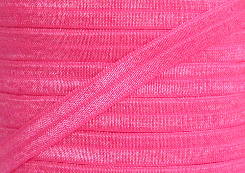 "Neon Pink 3/8"" Fold Over Elastic"