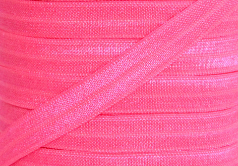 "Shocking Pink 3/8"" Fold Over Elastic"