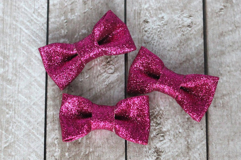 Structured Glitter Bows in Hot Pink