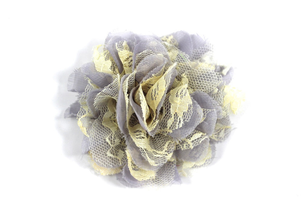 Gray & Pale Yellow Chiffon Lace Flower