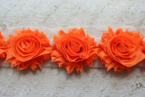 Orange Shabby Chiffon Flower