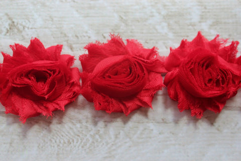 Red Shabby Chiffon Flower