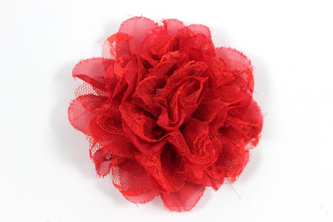 3.75 inch Red Chiffon Lace Flower