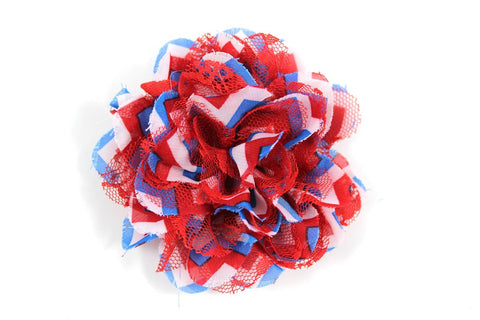 3.75 inch Red - White - Blue Chiffon Lace Flower
