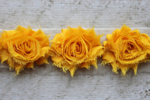 Golden Yellow Shabby Chiffon Flower