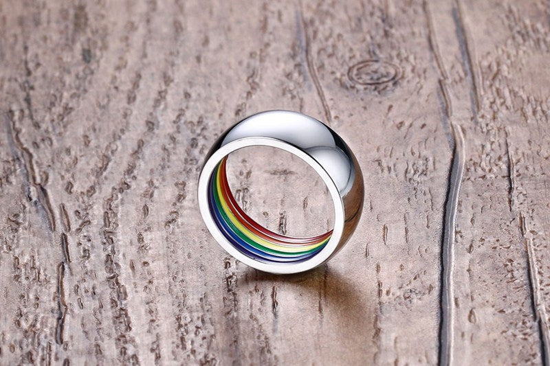Stainless Steel Ring with Rainbow Interior