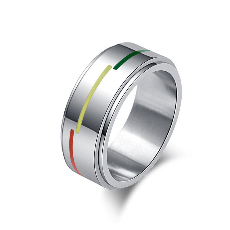 Stainless Steel LGBT Ring Rotatable Rainbow Flag Jewelry Silver Plated Lovers