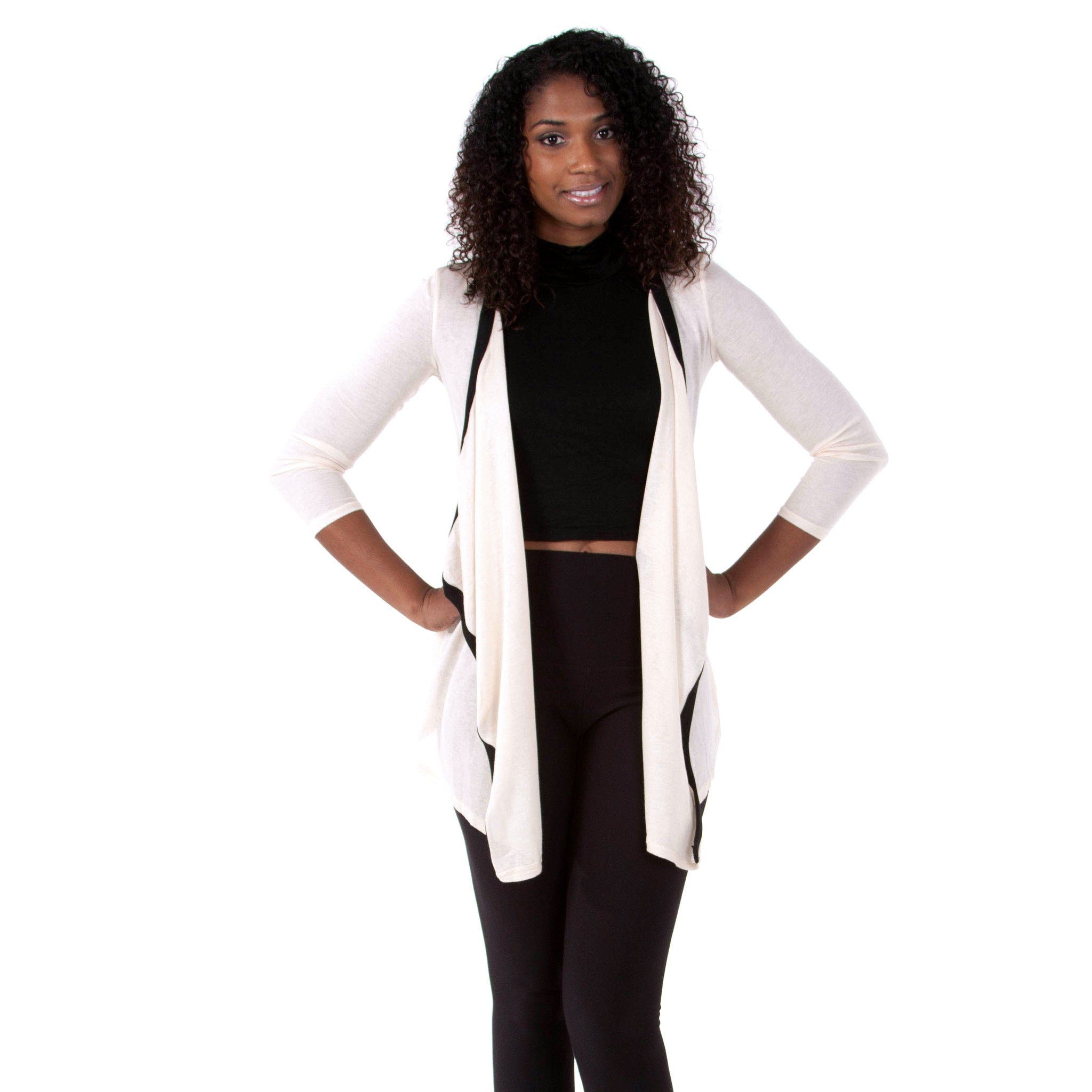 Beige Black Draped Front Cardigan Sweater d15c8a9da