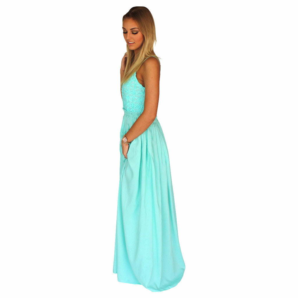 13905b3a55 Mint Green Lace Front Crochet Accent Open Back Maxi Dress | Love to ...