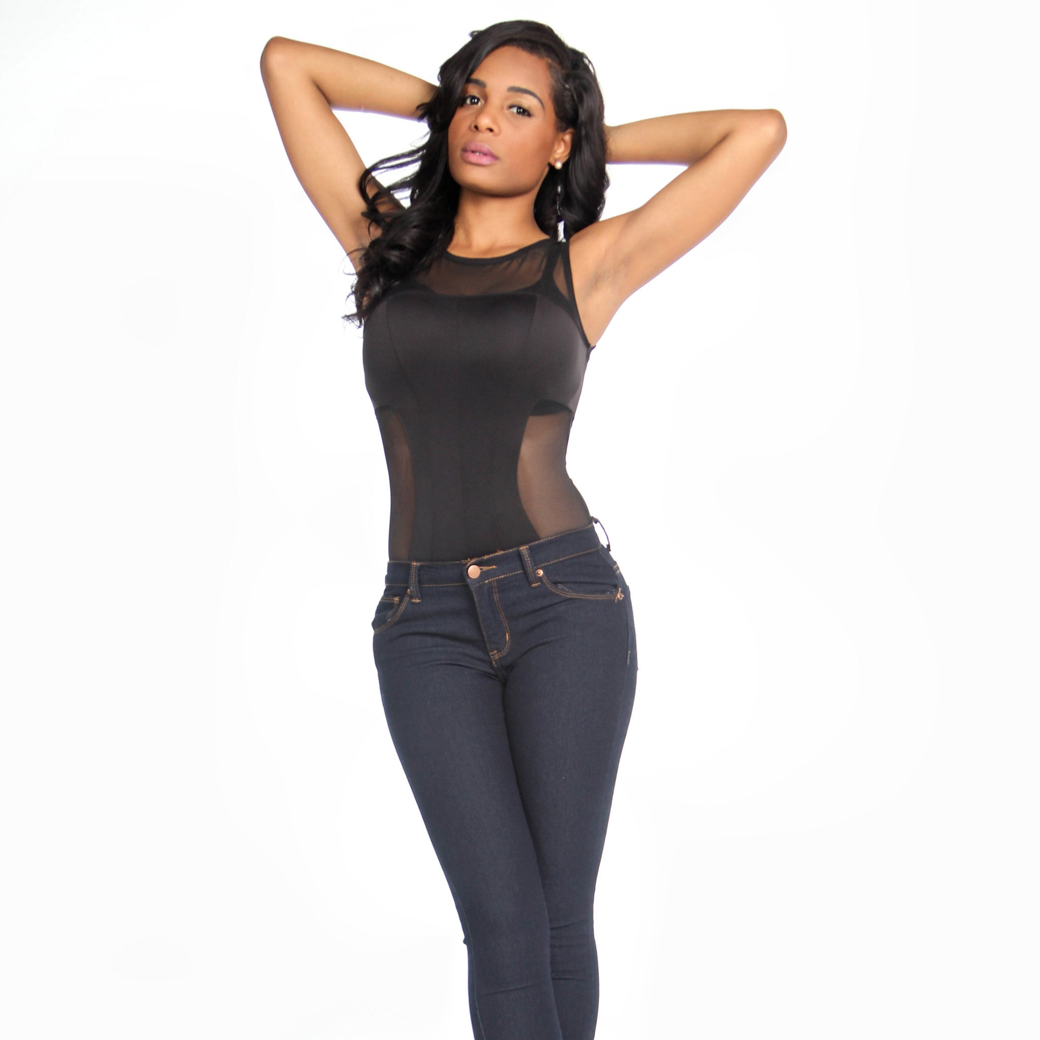 Black Mesh Accents Sleeveless Bodysuit  4d357ea88