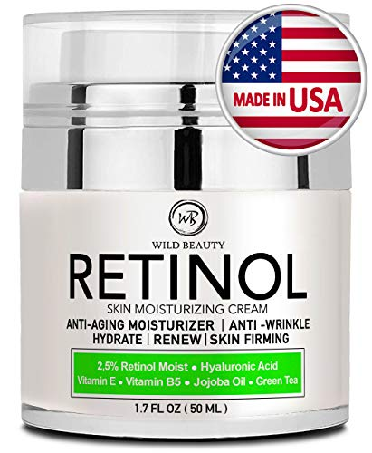 Retinol Cream Moisturizer for Face and Eye Area - Made in USA - with Hyaluronic Acid