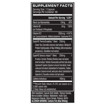 Cellucor SuperHD Thermogenic Fat Burner Weight Loss Supplement, 60 Servings