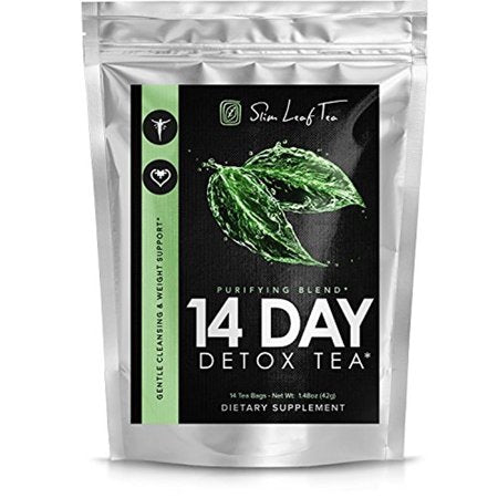 Slim Leaf Tea -- 14 Day Tea Detox for Weight Loss and Digestive Health - Appetite Suppressant - Anti Gas and Bloating - Herbal Cleanse for Intestinal Health (14 tea bags - 3g ea)