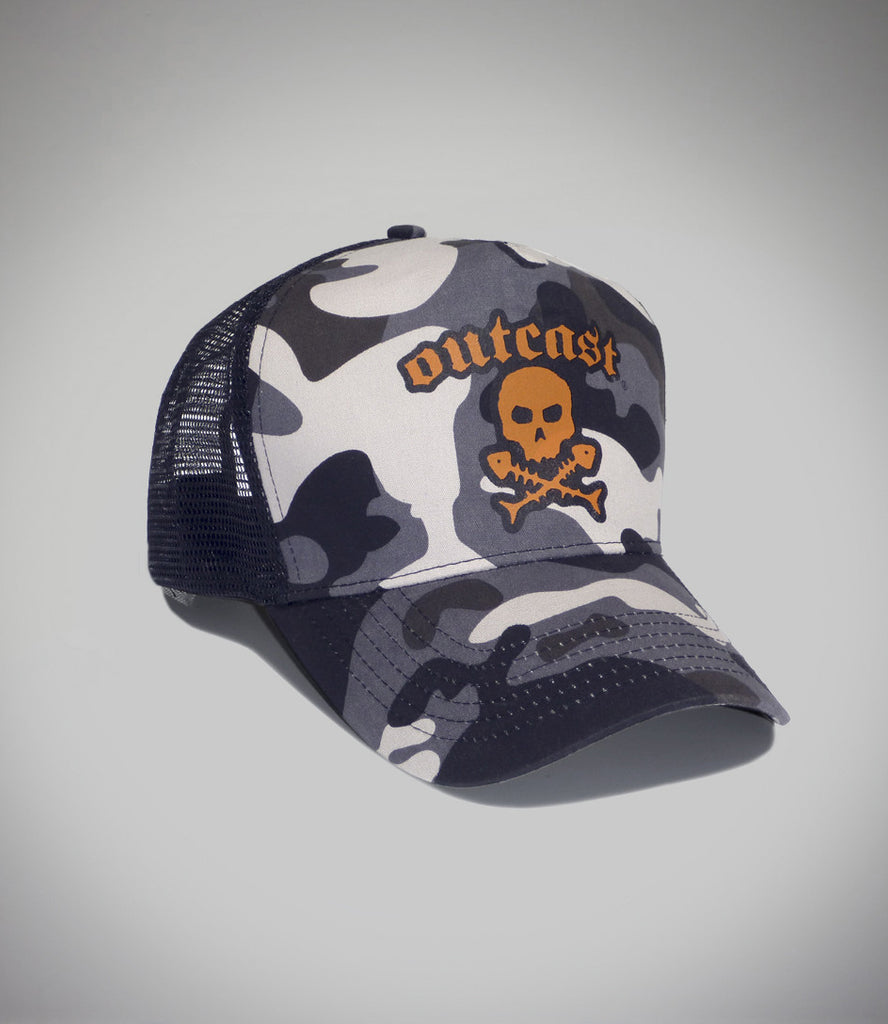 Outcast Camo Trucker with orange print skull logo front view
