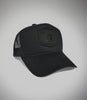 Outcast Black Foam Trucker cap with black on black embroidered outcast skull logo front view