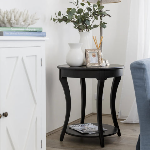 SIDE TABLE | Greenwich Lamp | Round | Black by Henry & Oliver Co