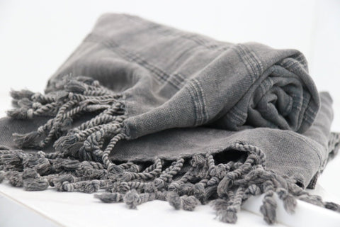 BATH TOWEL | Stonewashed Turkish Towel Charcoal by Miss April Towels