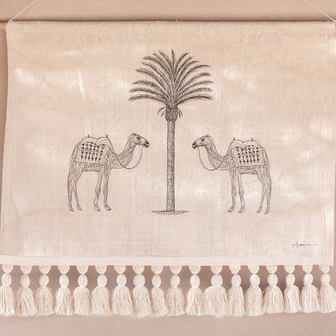 WALL HANGING | Camels of Agadir with Tassels by Atlas the Collective